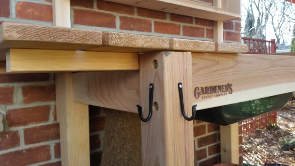Potting bench with tool hooks